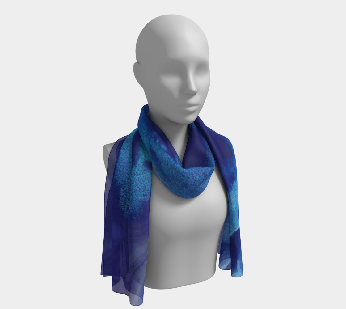 Watercolor Swirls A - Blues, Long Scarf preview #1