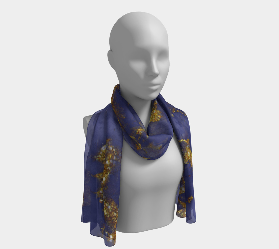 Watercolor Swirls C  - Blue & Gold, Long Scarf preview #1