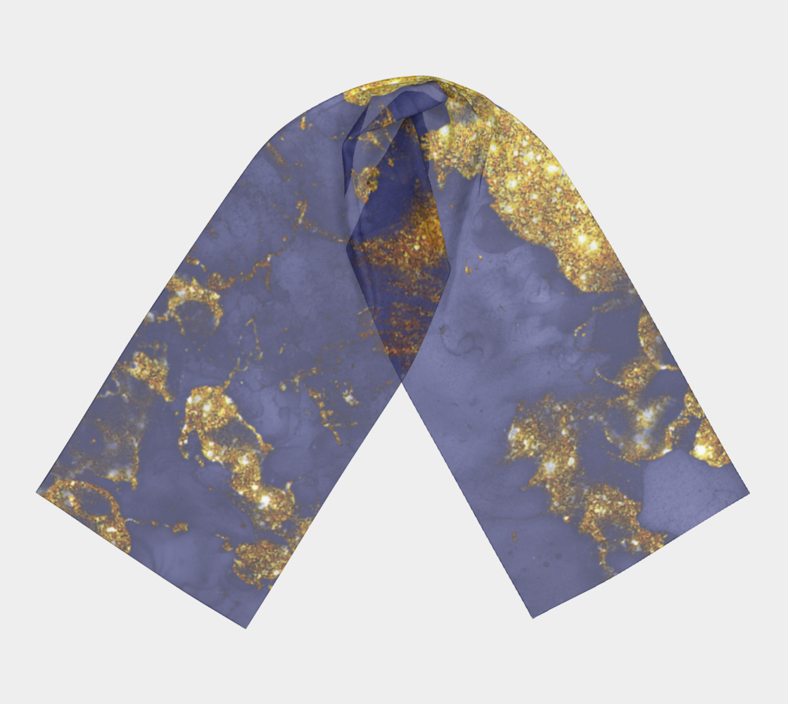 Watercolor Swirls C  - Blue & Gold, Long Scarf preview #3