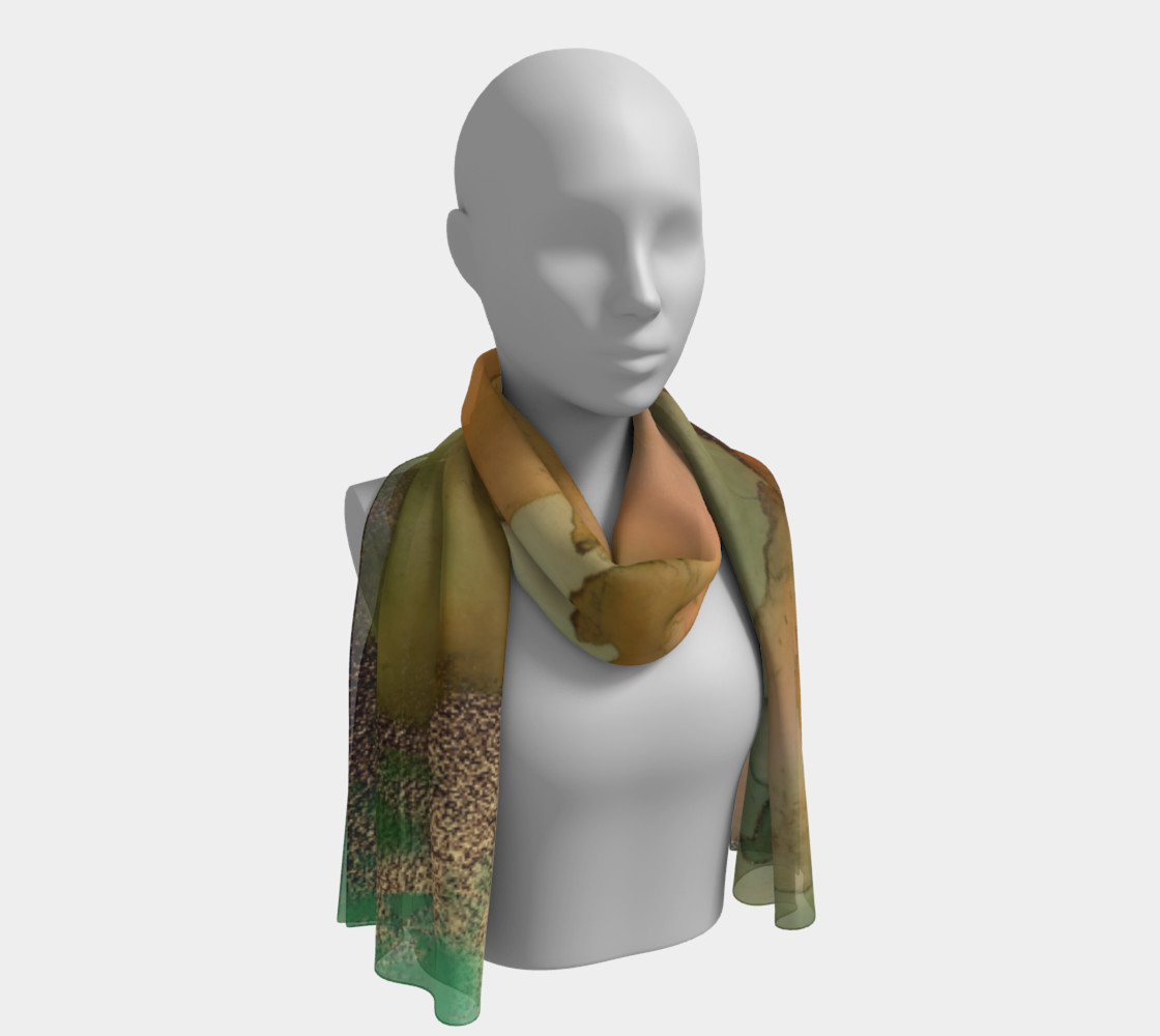 Watercolor Swirls H - Greens & Earthtones, Long Scarf preview #1
