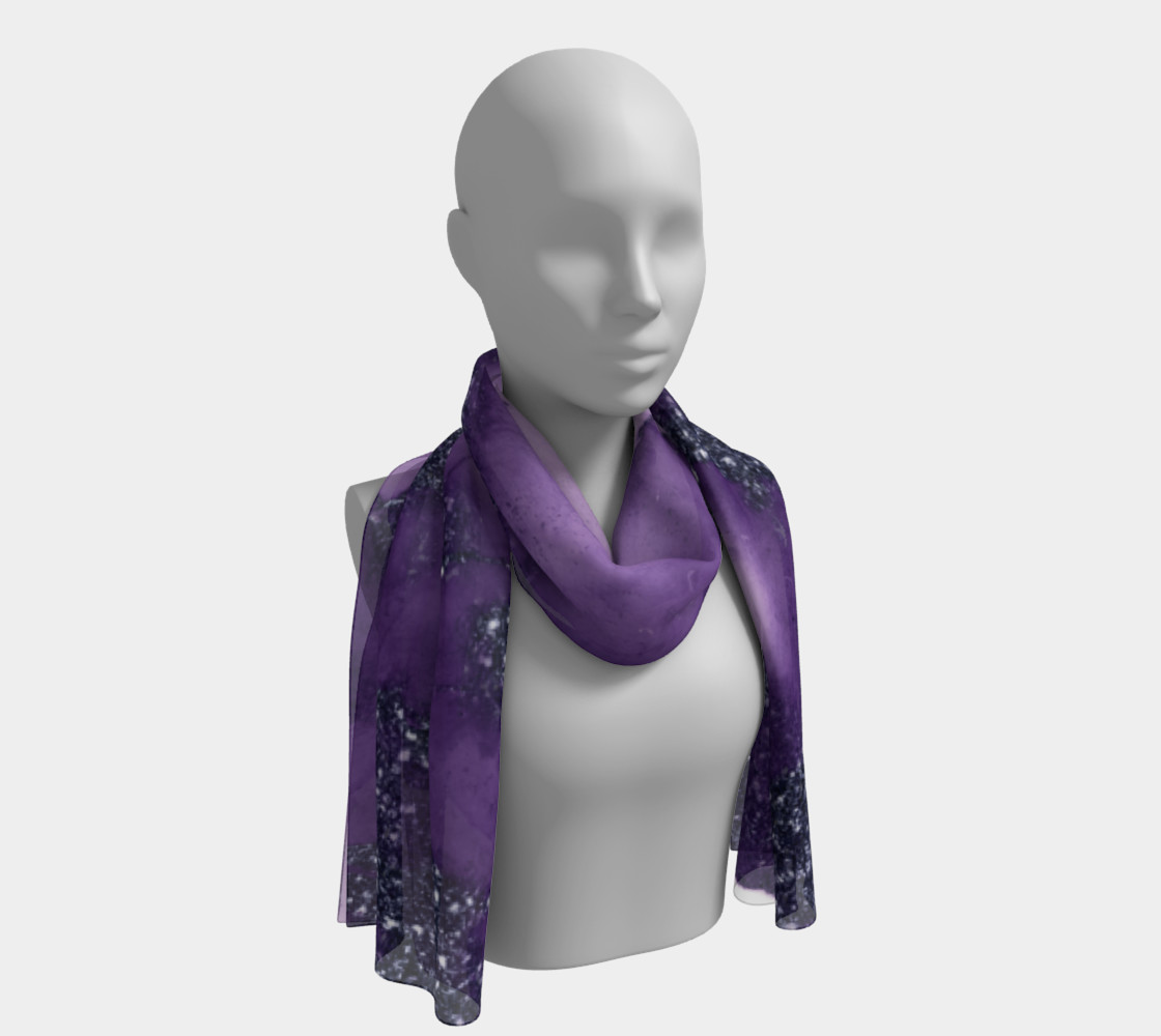 Watercolor Swirls I - Purple Sparkles, Long Scarf preview #1