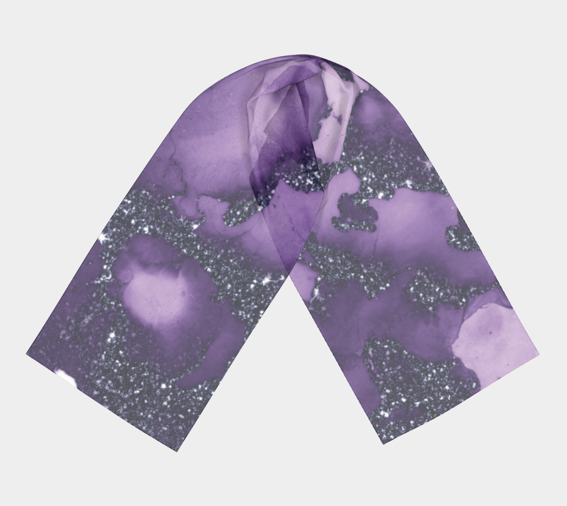 Watercolor Swirls I - Purple Sparkles, Long Scarf preview #3