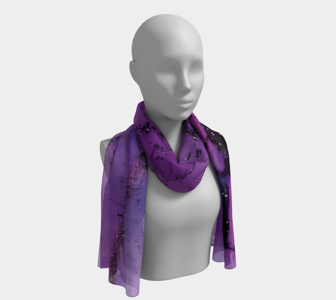Watercolor Swirls K - Purple & Black, Long Scarf preview #1