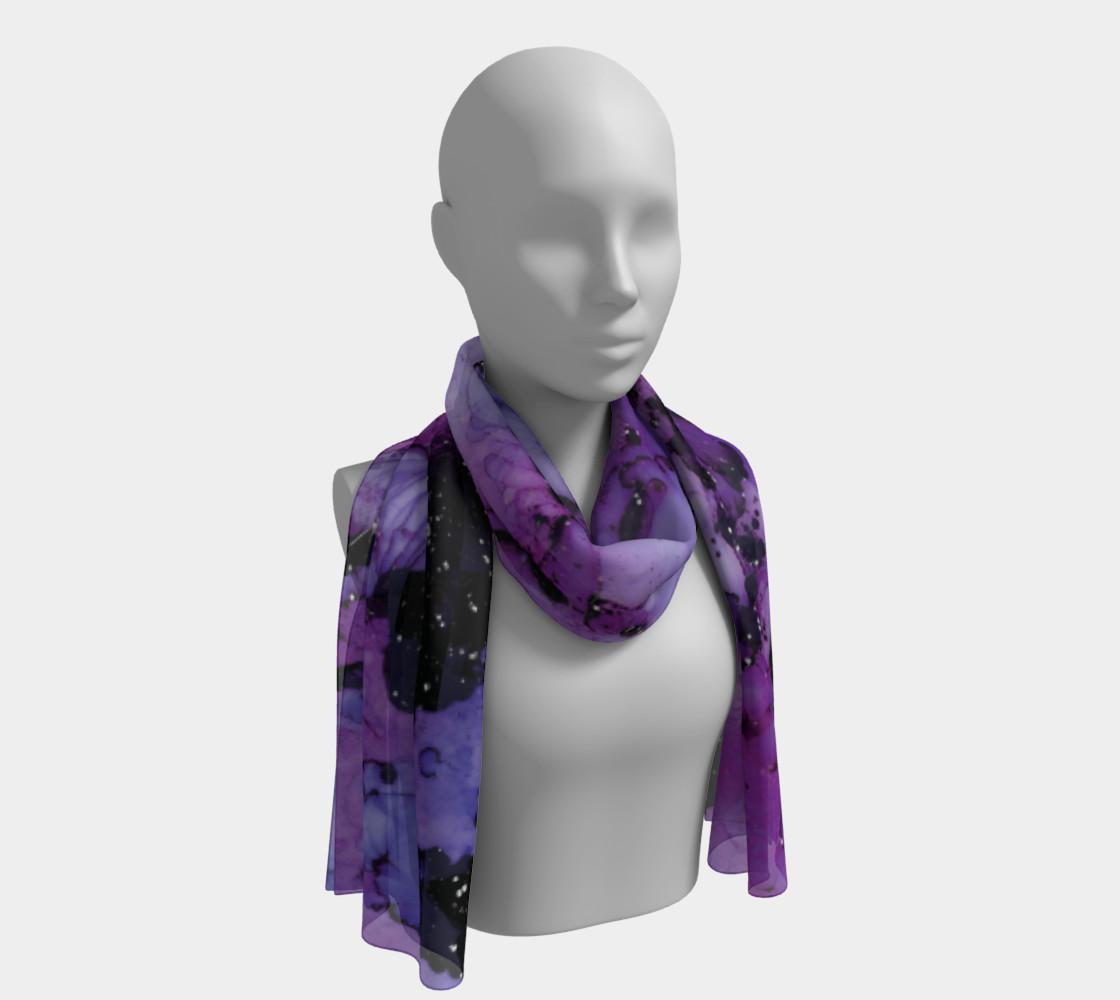 Watercolor Swirls L - Purple & Black, Long Scarf preview #1