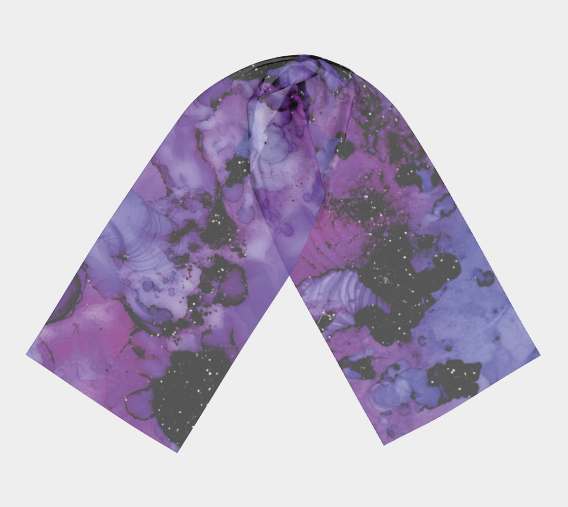 Watercolor Swirls L - Purple & Black, Long Scarf preview #3
