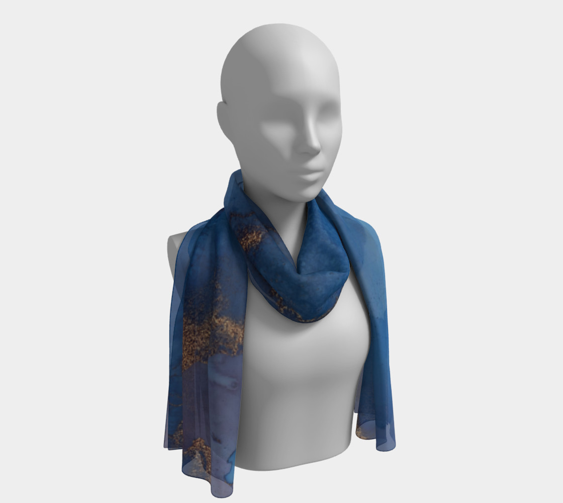 Watercolor Swirls N - Blue & Gold, Long Scarf preview #1