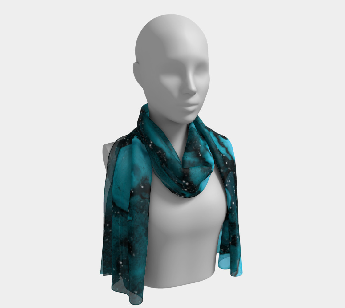 Watercolor Swirls O - Turquoise Splotches, Long  Scarf preview #1