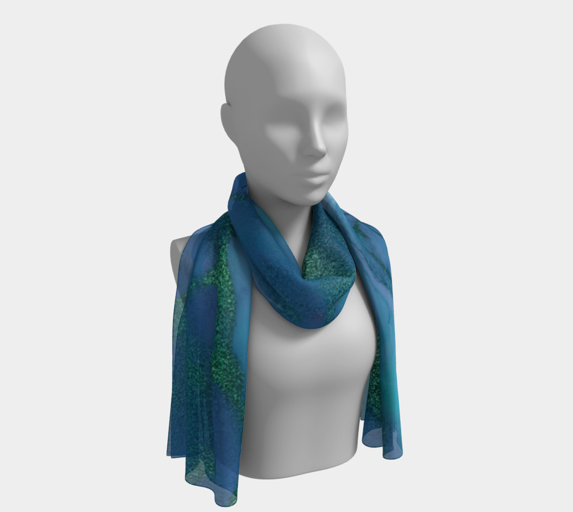 Watercolor Swirls P - Blues & Greens, Long Scarf preview #1