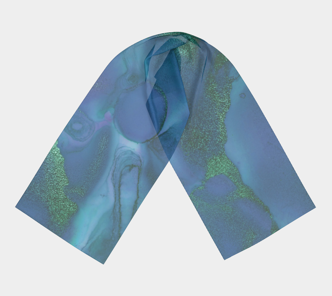 Watercolor Swirls P - Blues & Greens, Long Scarf preview #3