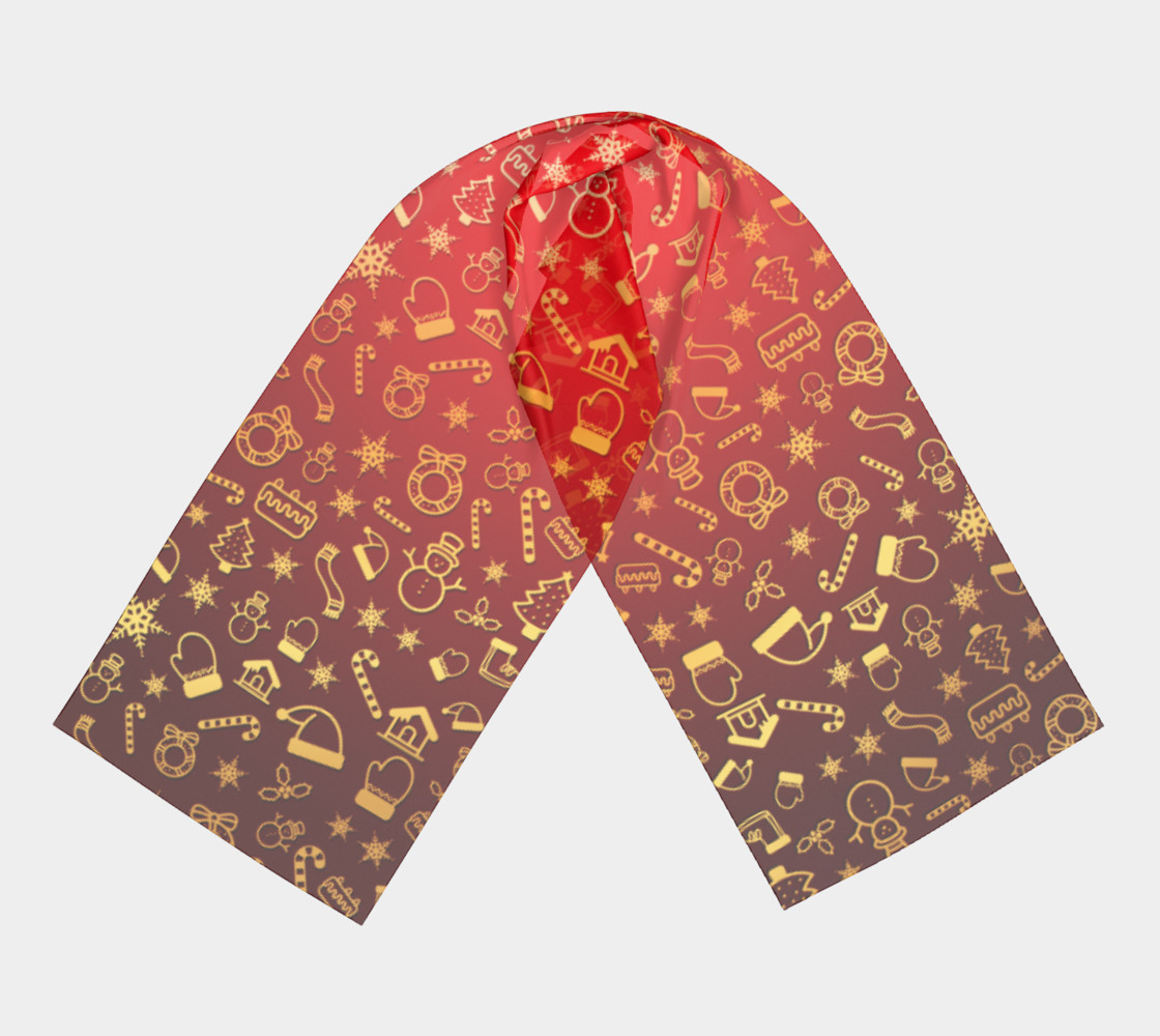 Christmas Gold Shapes Pattern - Long Scarf preview #3