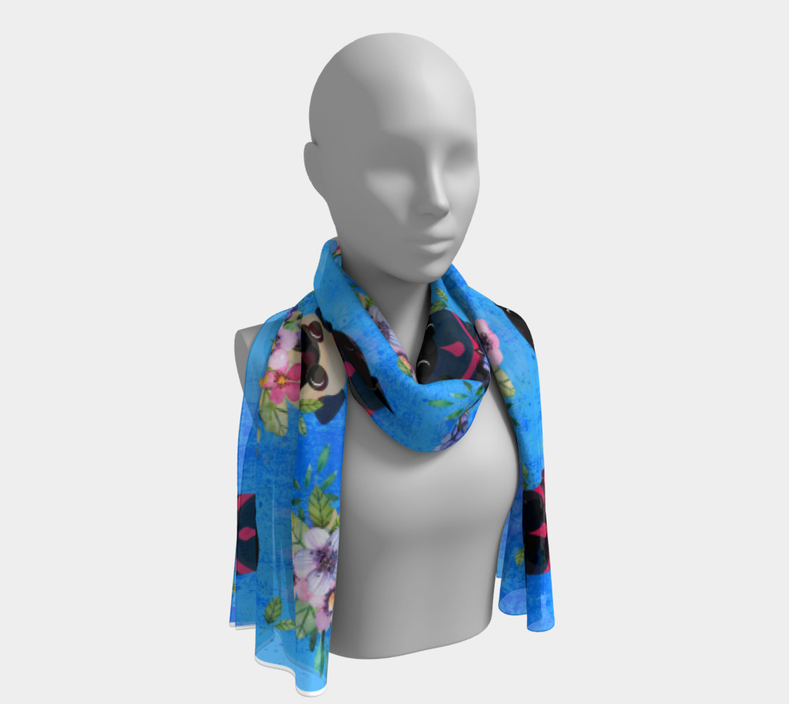 Pugs In Flowers Long Scarf Miniature #2