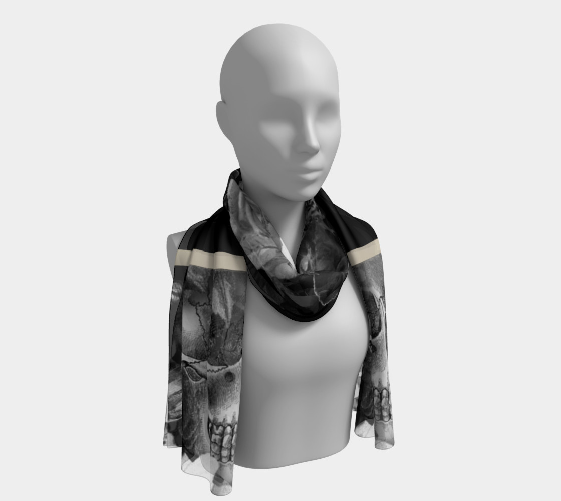 Skull Floral Long Scarf preview #1