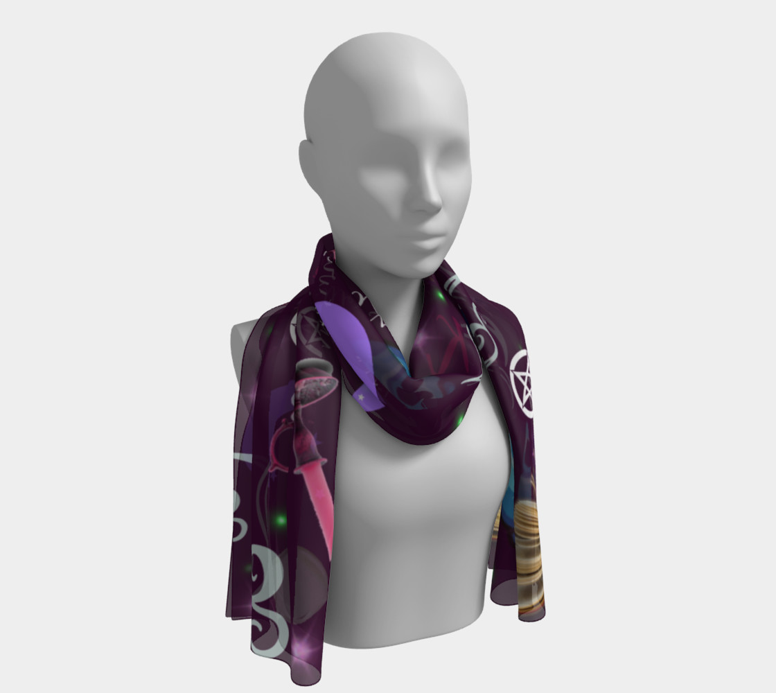 WK #ModernWitchLife Purple Print Long Scarf preview #1