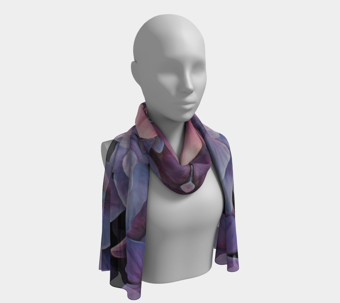 hydrangea flower blossom painting scarf preview #1