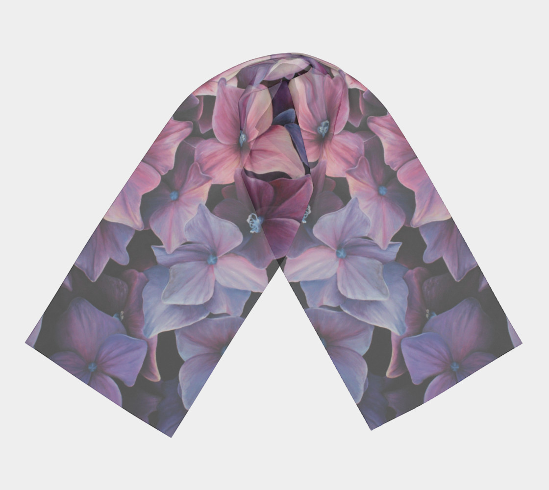 hydrangea flower blossom painting scarf preview #3