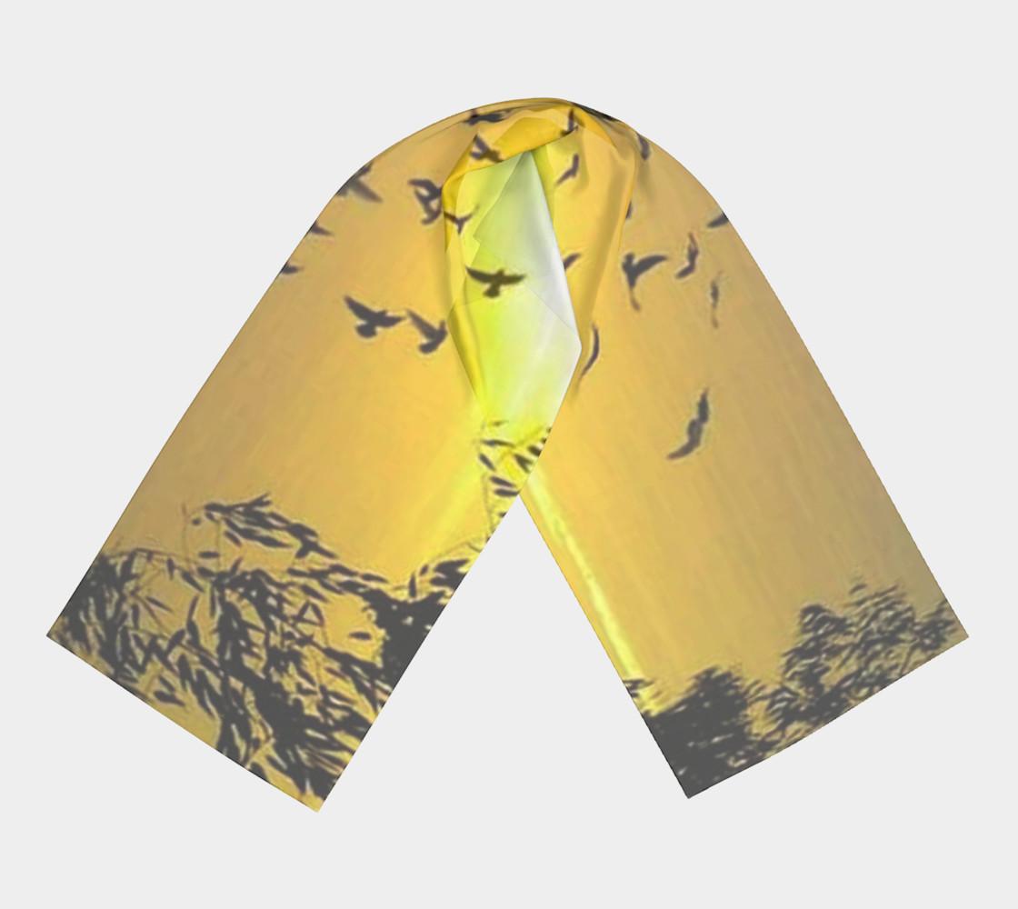 Sundown birdies on silk scarf. preview #3