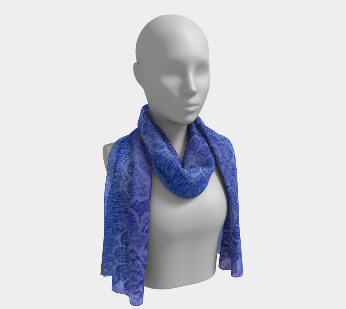 Blue Lace Ombre Watercolor Scarf Long preview #1