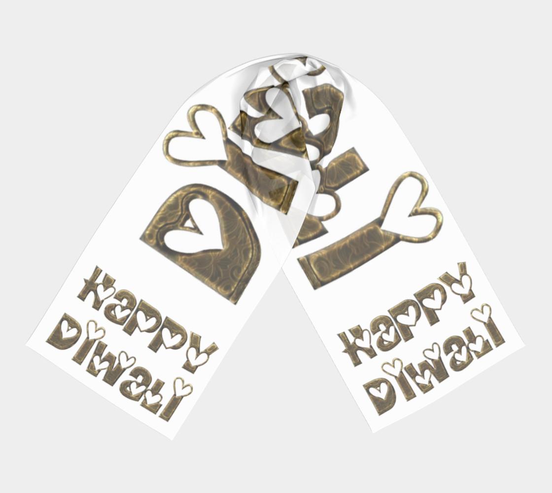 Aperçu de Festival of Lights Happy Diwali Greeting Typography Long Scarf #3