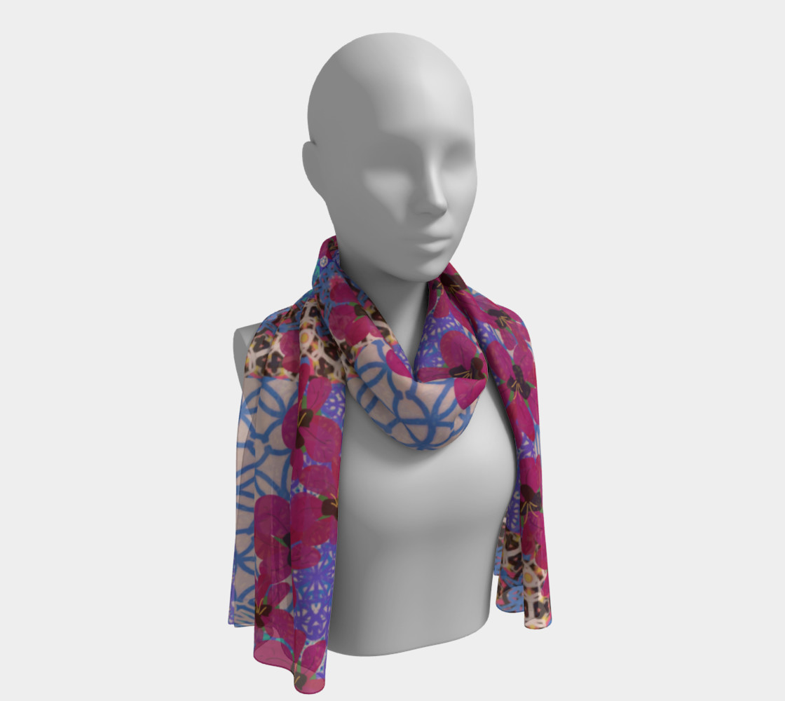 Blue Floral Scarf by KCS preview #1
