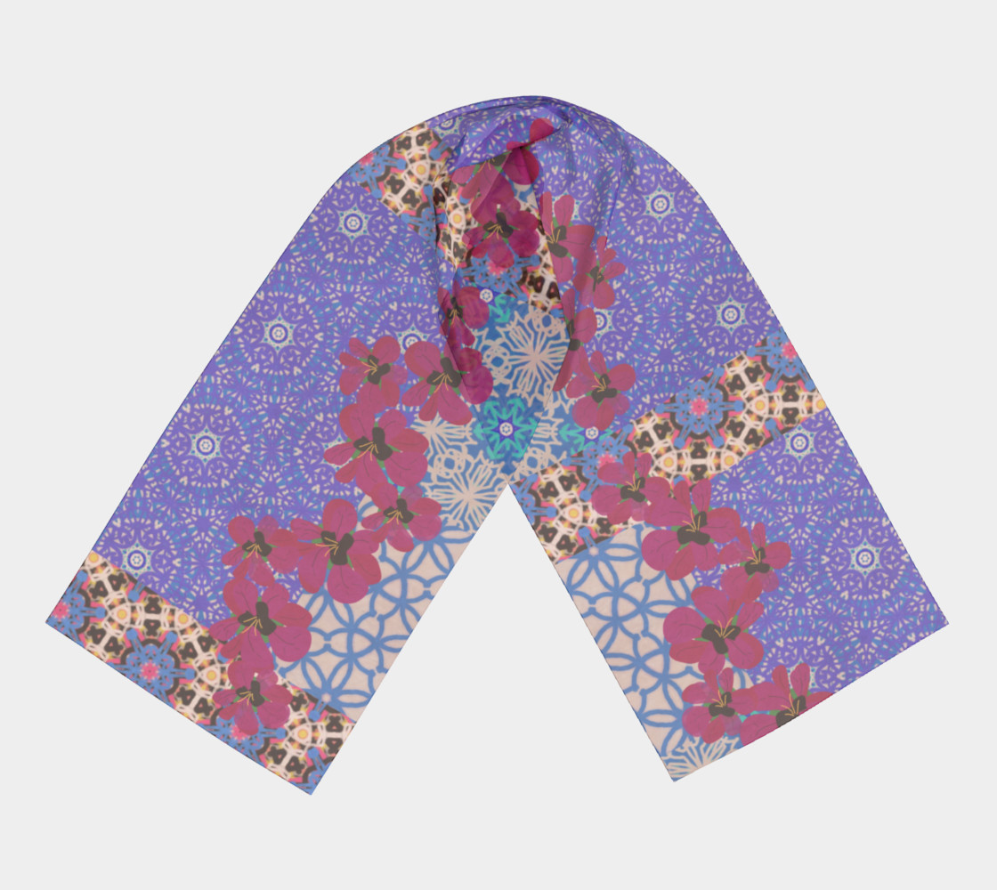 Blue Floral Scarf by KCS preview #3