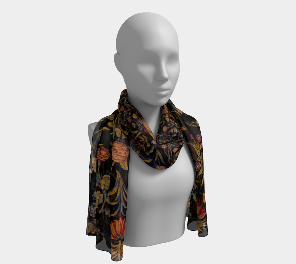 Medieval Flowers on Black Long Scarf preview #1