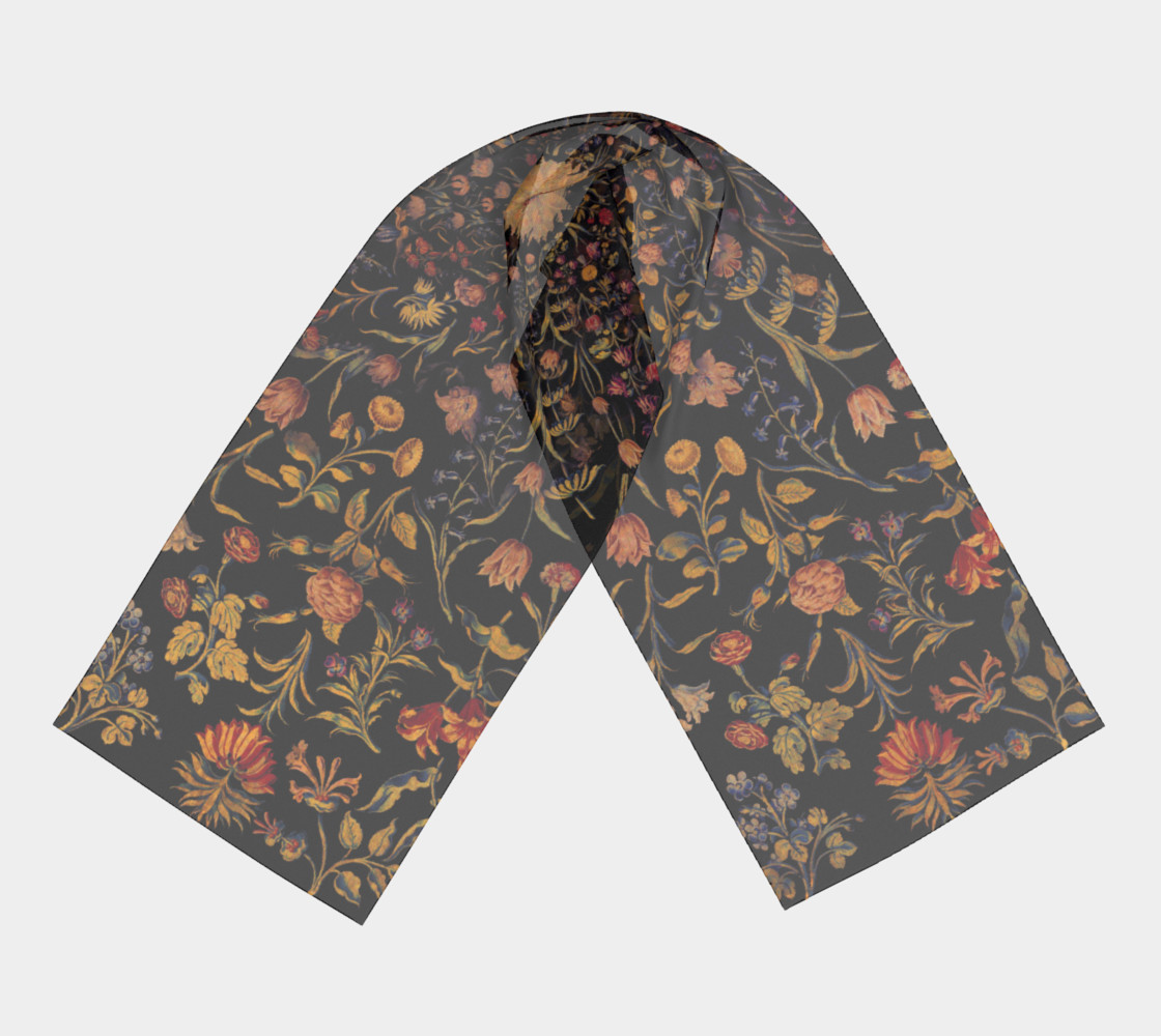 Medieval Flowers on Black Long Scarf preview #3