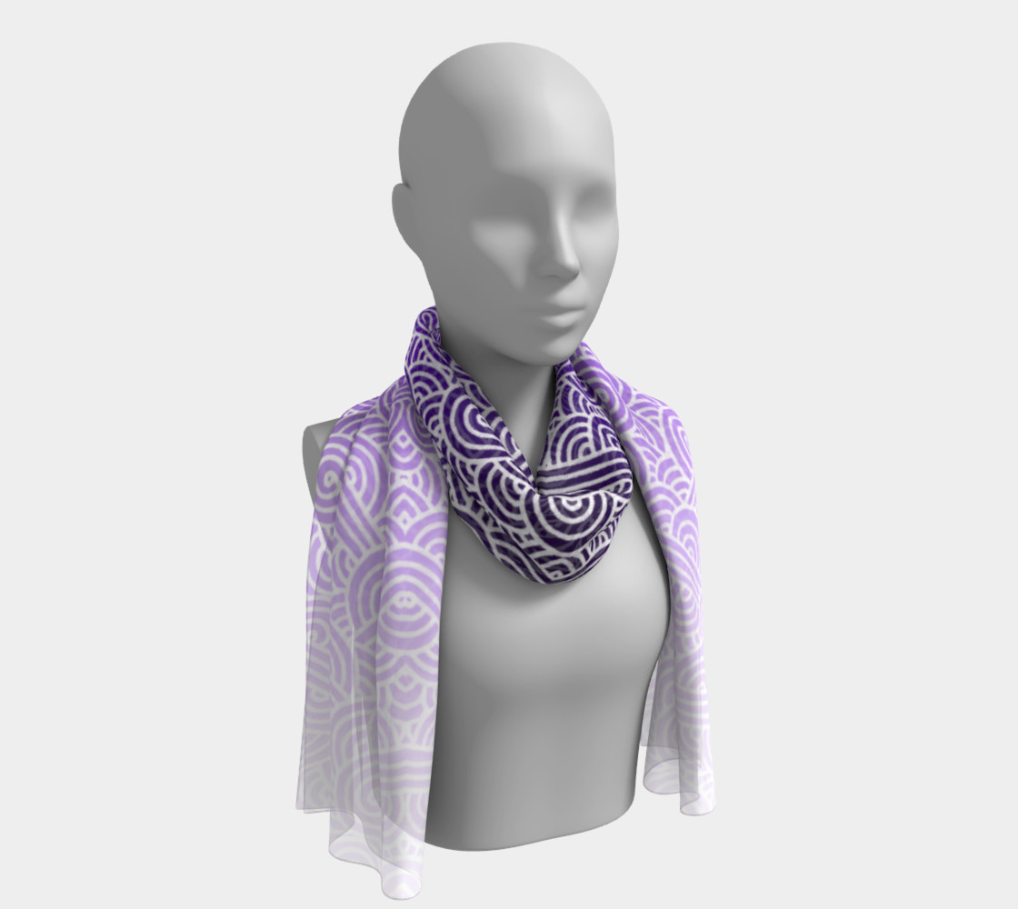 Ombre purple and white swirls doodles Long Scarf preview #1