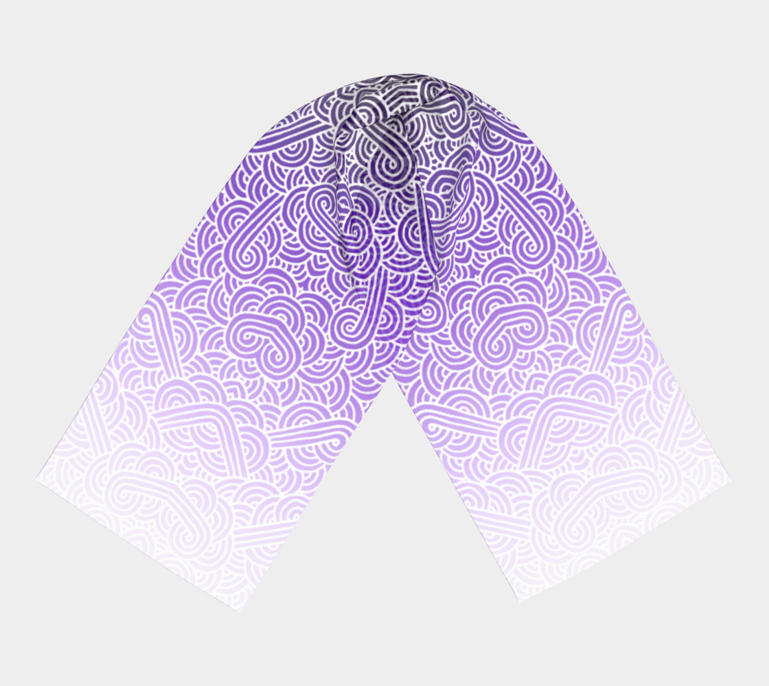 Ombre purple and white swirls doodles Long Scarf preview #3