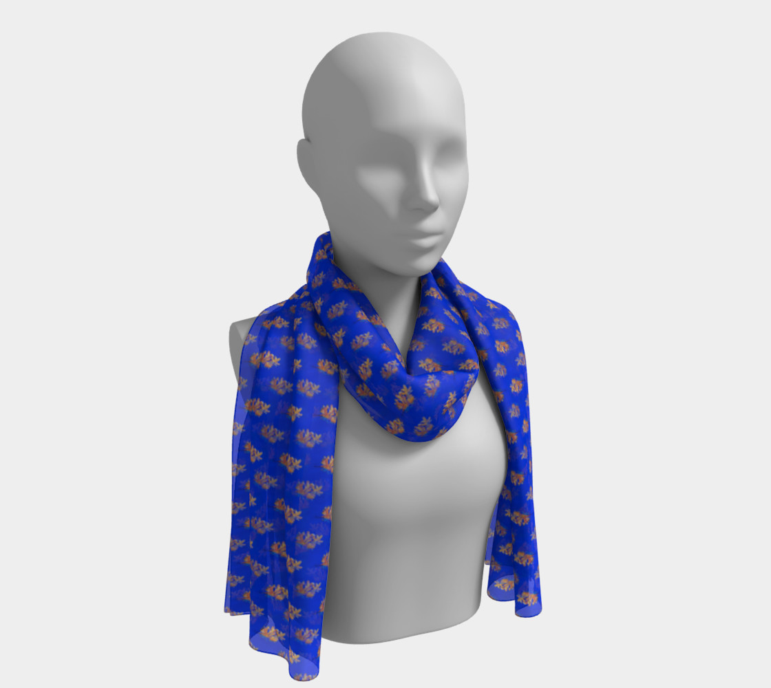 Forsythia At Noon in Royal Blue Long Scarf preview #1