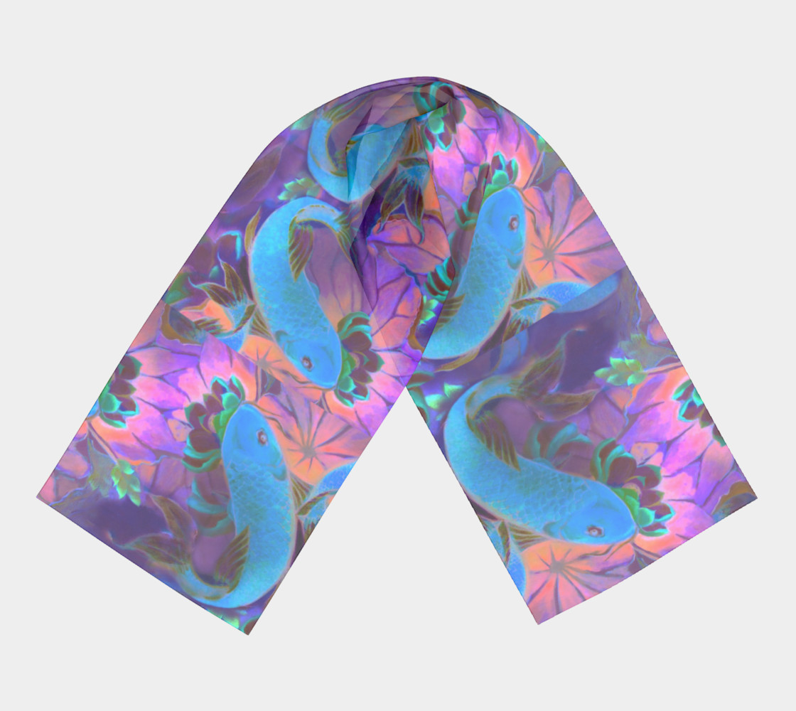 """Midnight Koi Long Scarf 16"""" x 72"""" preview #3"""