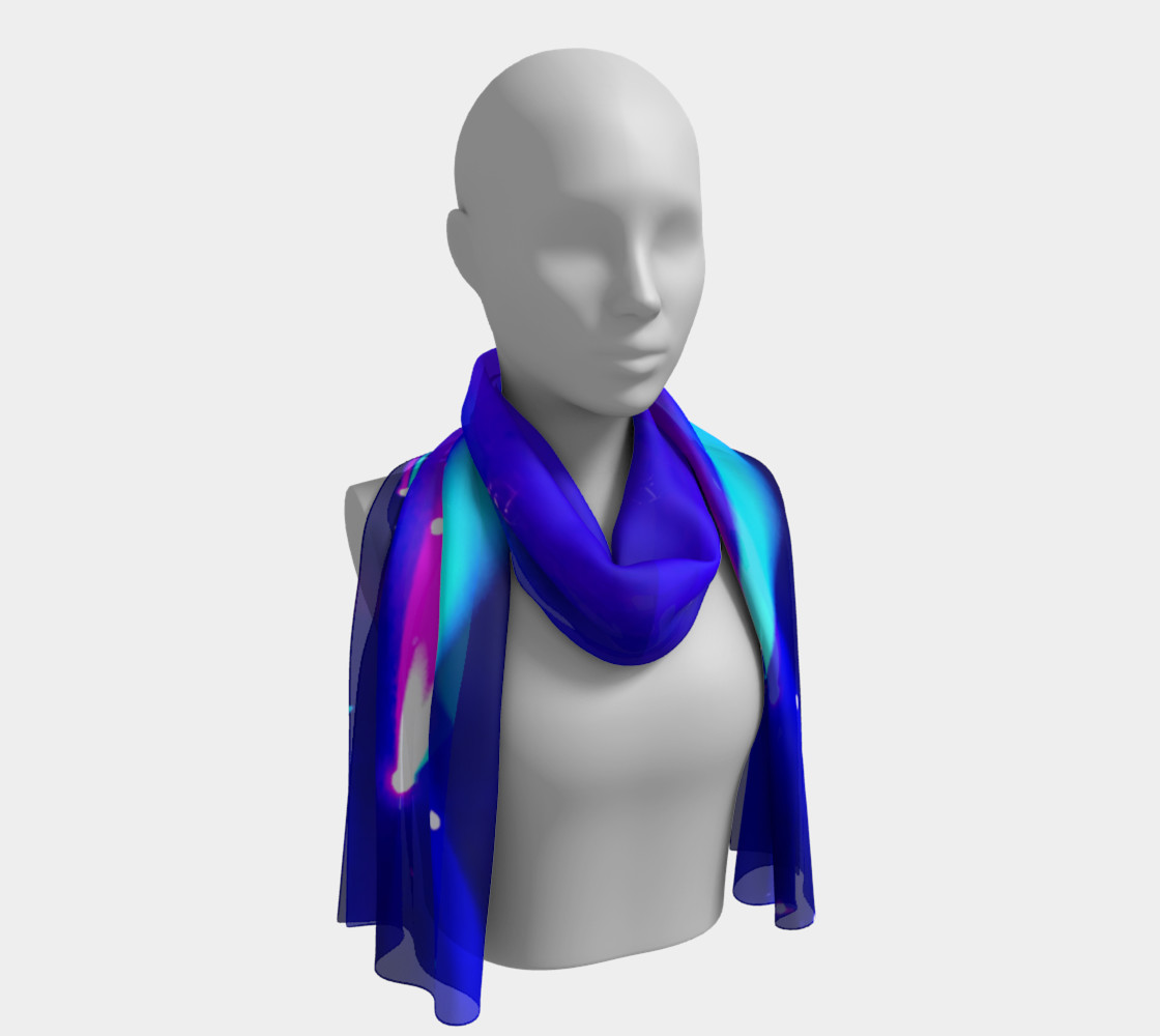 Blue, Turquoise and Pink Long Scarf 3D preview
