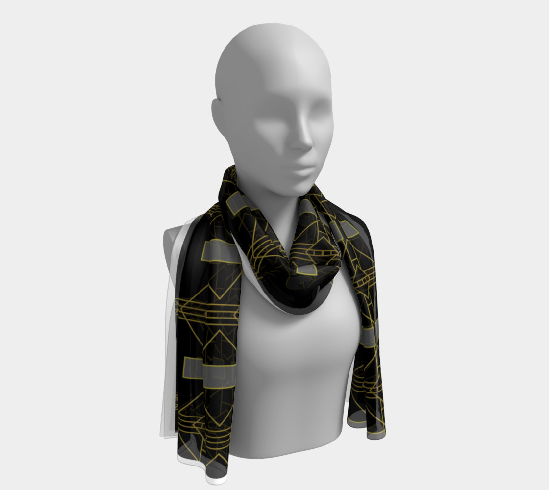 K3 Black Gold and Grey Geometric long scarf preview #1