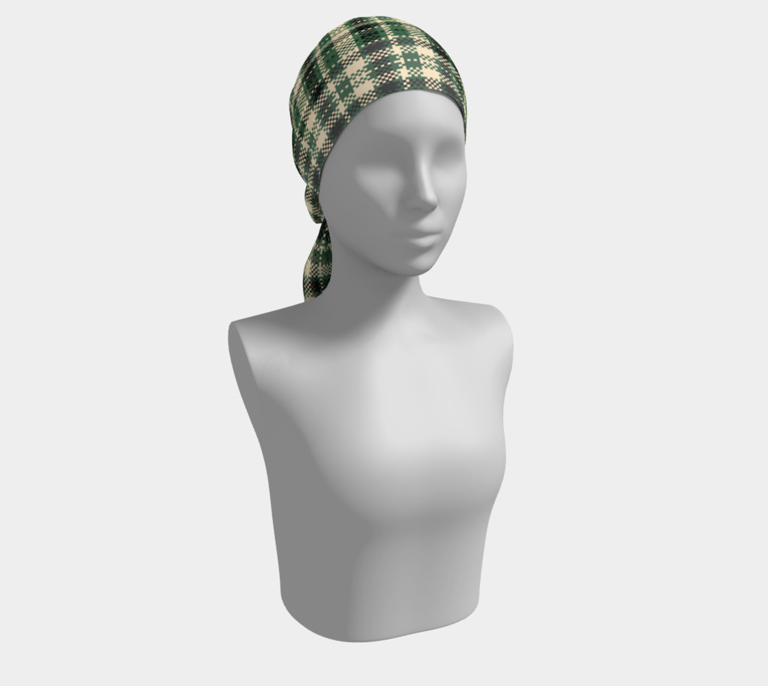 Aperçu de Digital Green & Cream Plaid Long Scarf #2