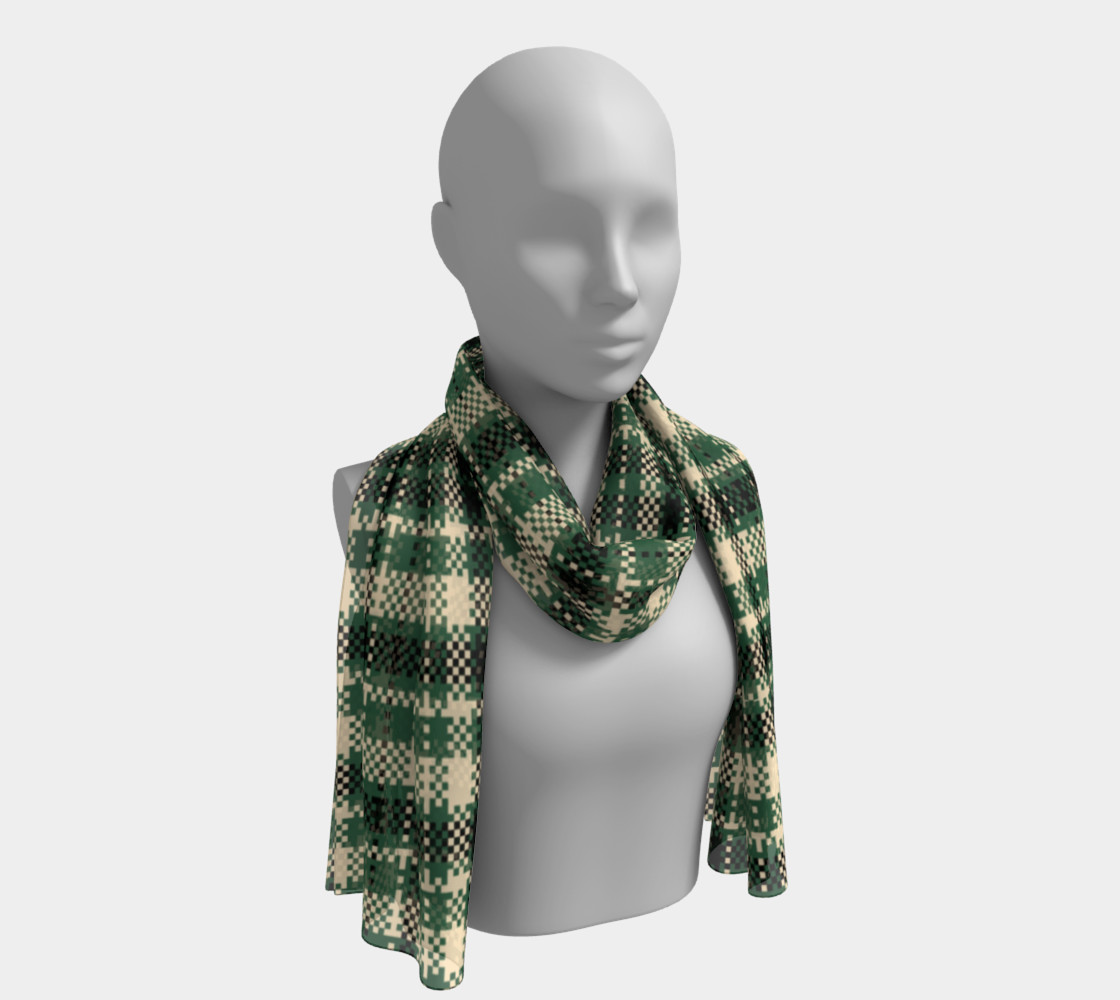Digital Green & Cream Plaid Long Scarf Miniature #2