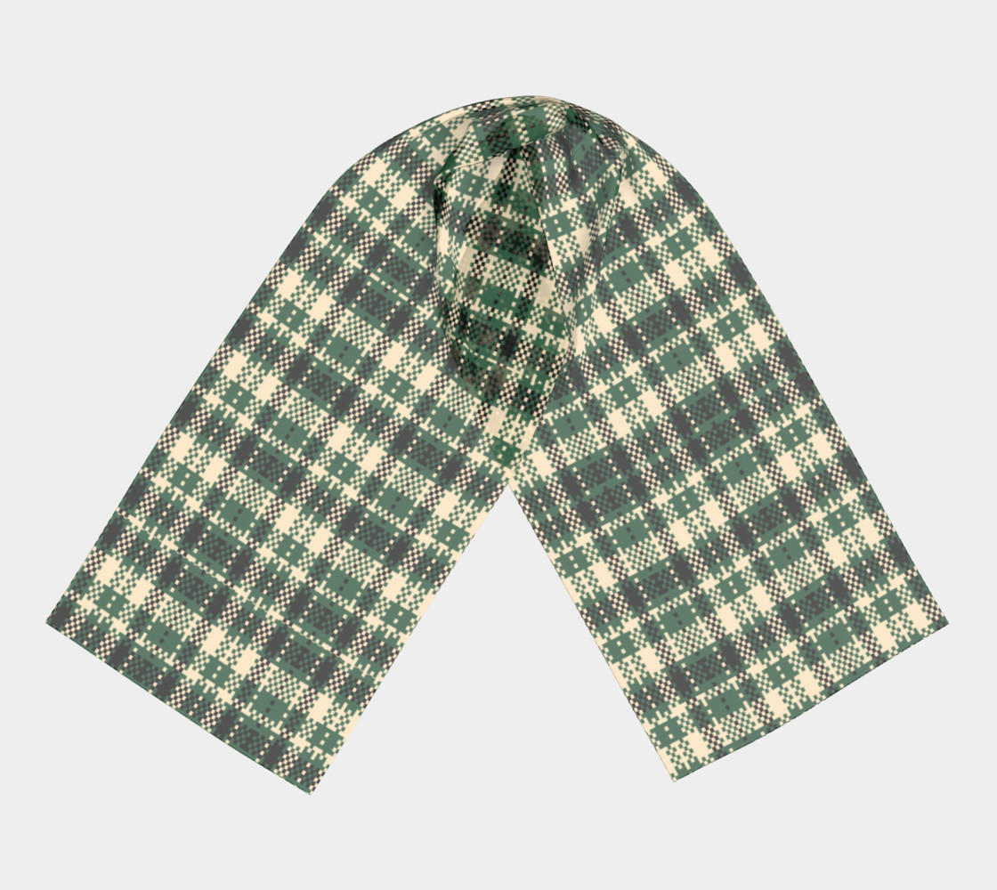 Digital Green & Cream Plaid Long Scarf Miniature #4