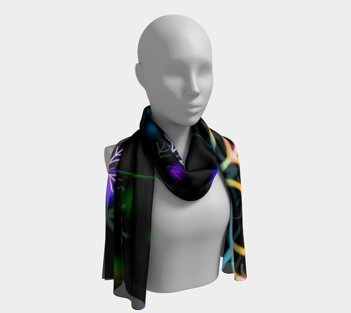 Rainbow Snowflakes on Black Long Scarf preview #1
