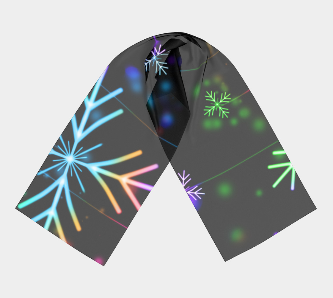 Rainbow Snowflakes on Black Long Scarf preview #3
