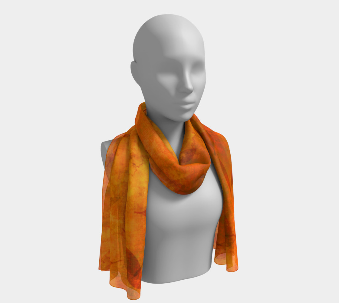 Fall Leaves on Fabric Long Scarf preview #1