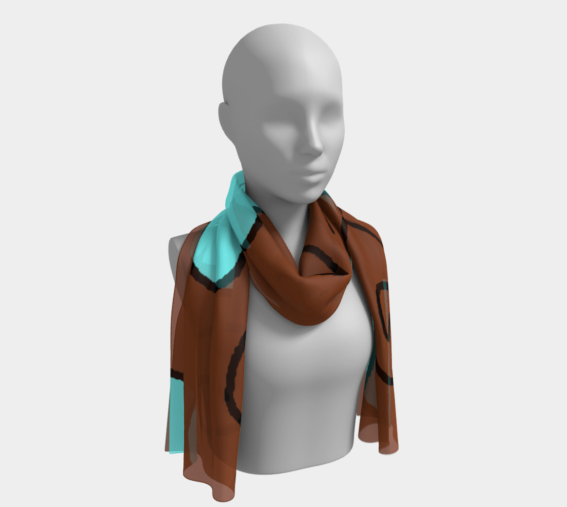 Light Blue Hearts on Brown Long Scarf preview #1