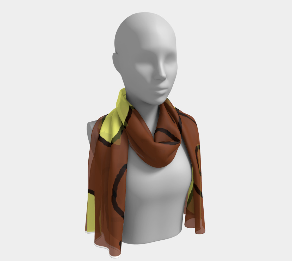 Light Yellow Hearts on Brown Long Scarf preview #1