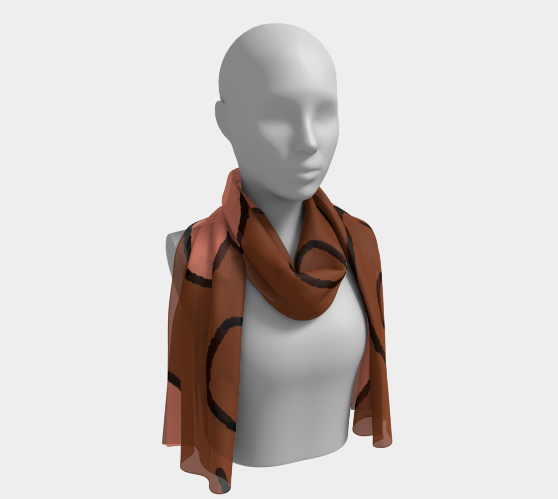 Salmon Hearts on Brown Long Scarf preview #1