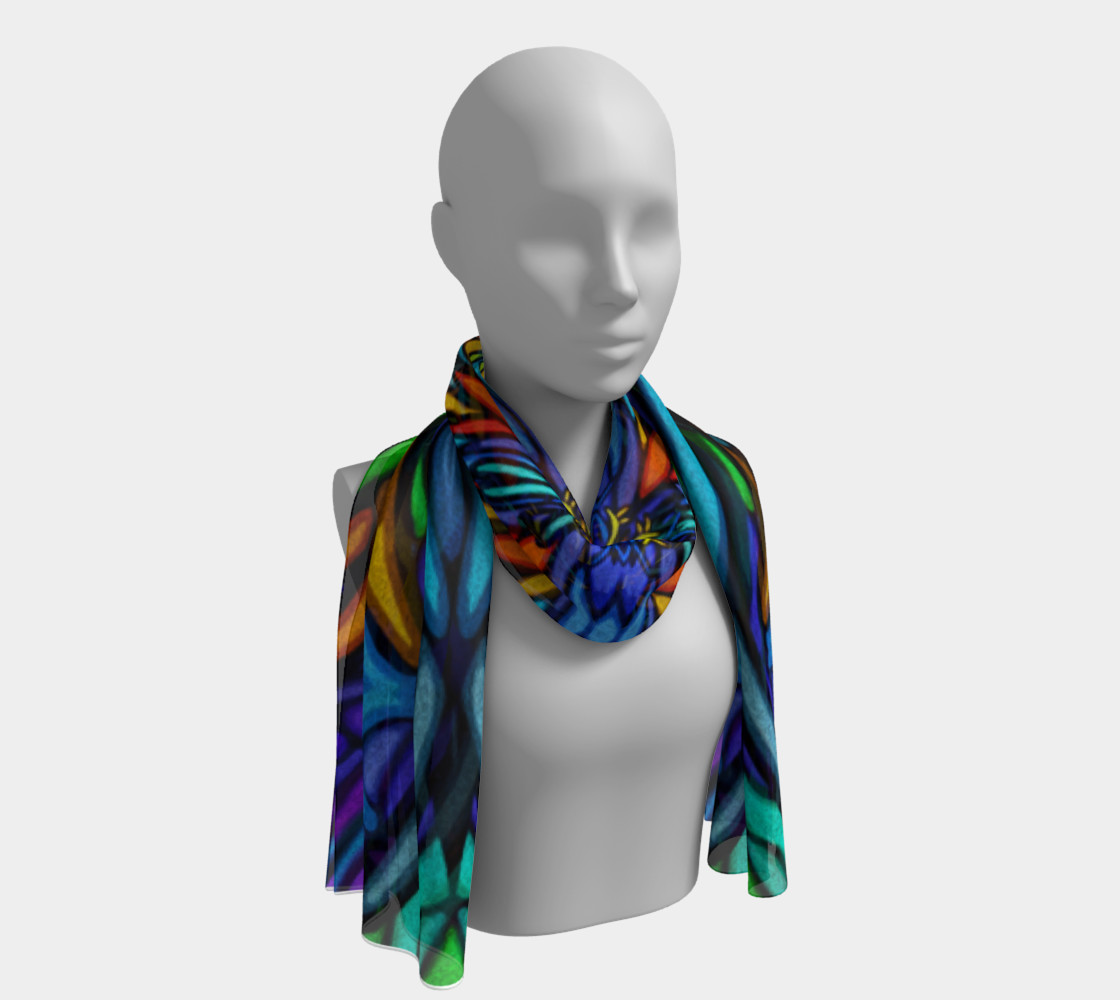 Blue floral scarf preview #1