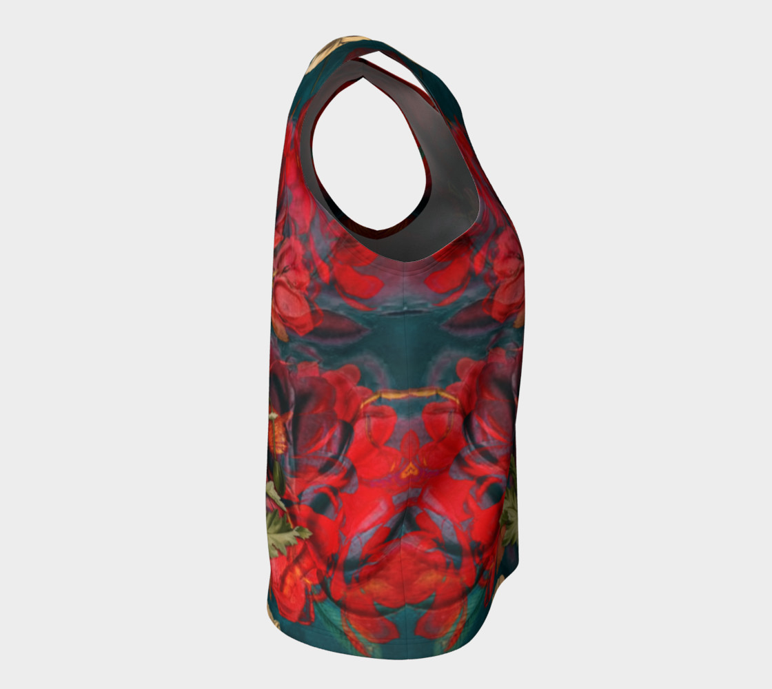 flowers red loose tank top preview #8