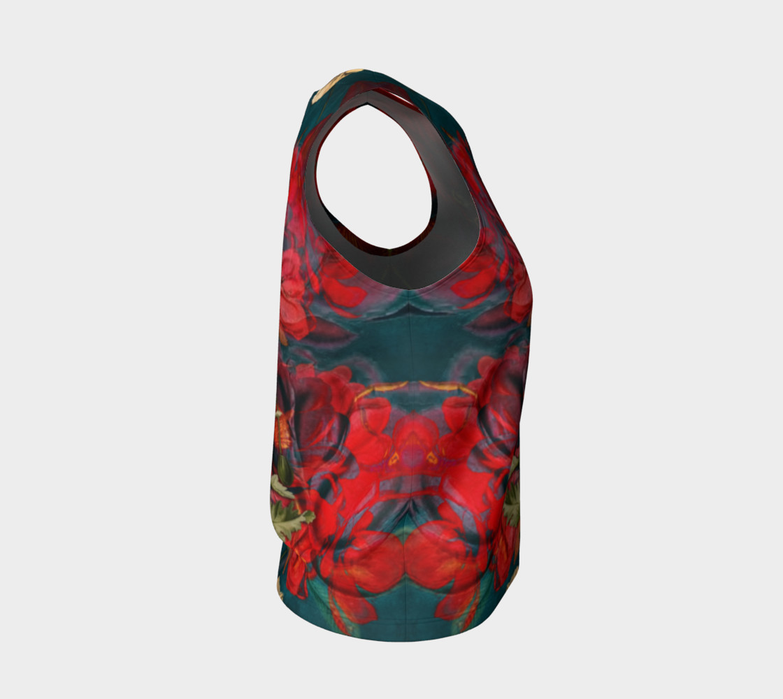flowers red loose tank top preview #4