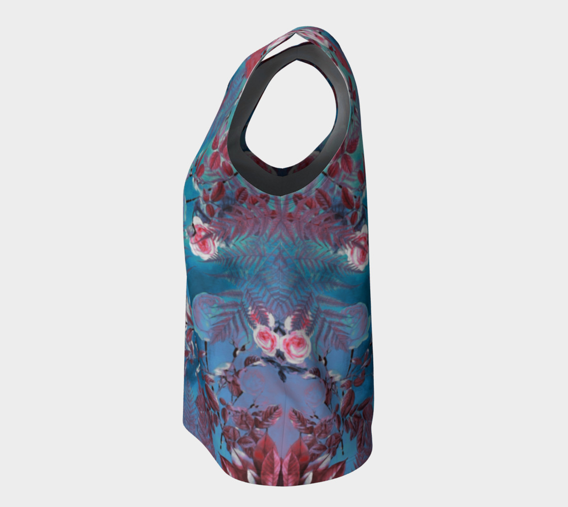 flowers blue loose tank top preview #7