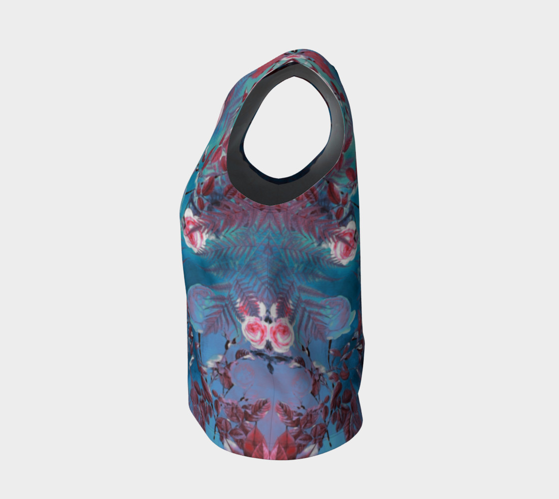 flowers blue loose tank top preview #3