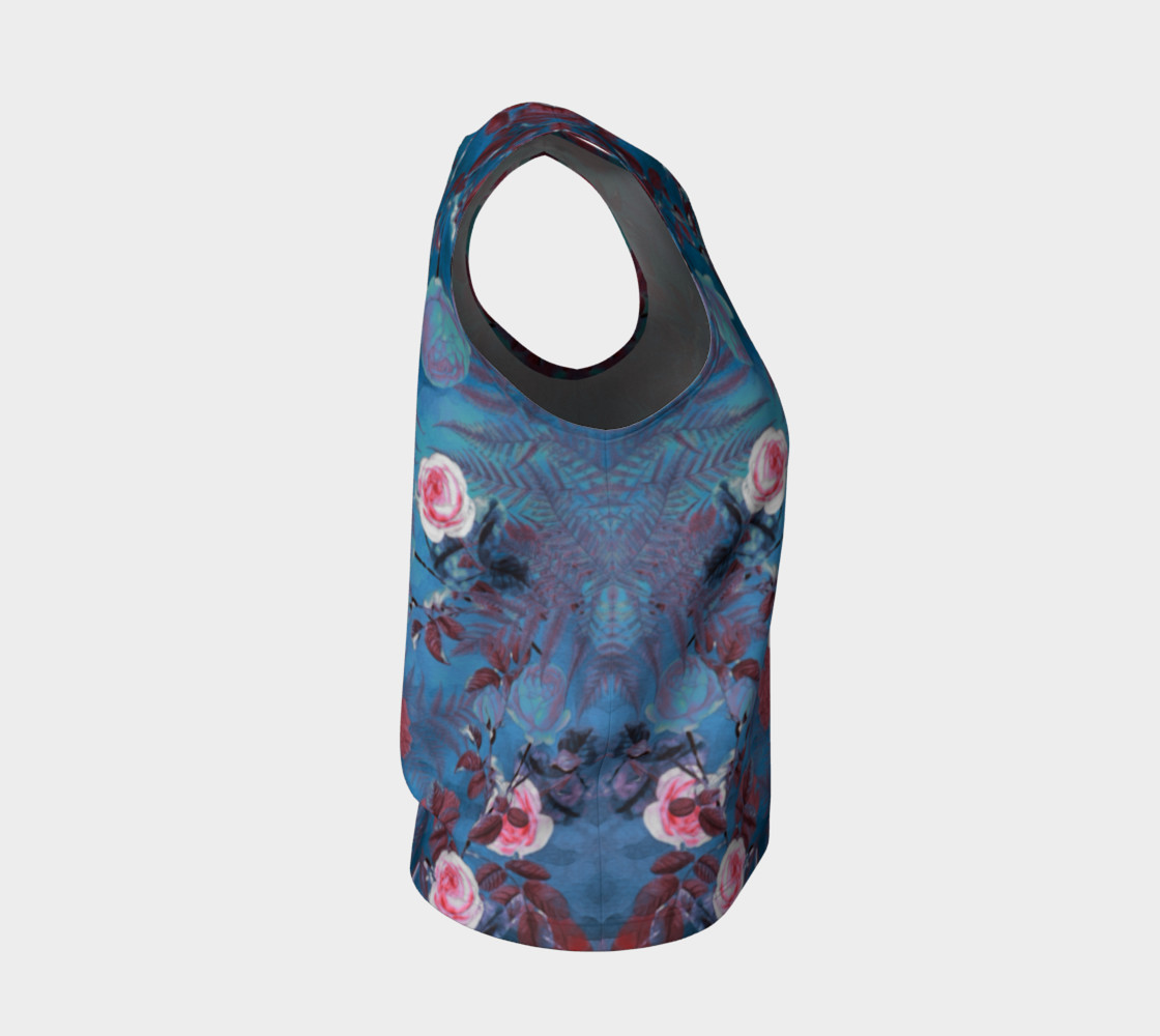 flowers blue loose tank top preview #4