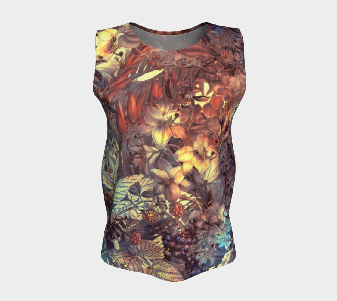 flowers art loose tank top preview #5