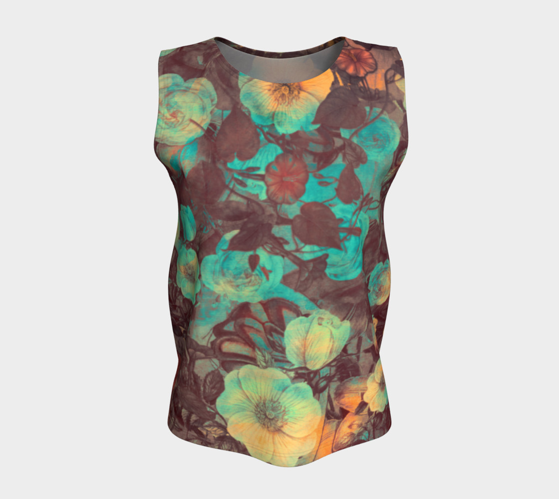 flowers green loose tank top preview #5