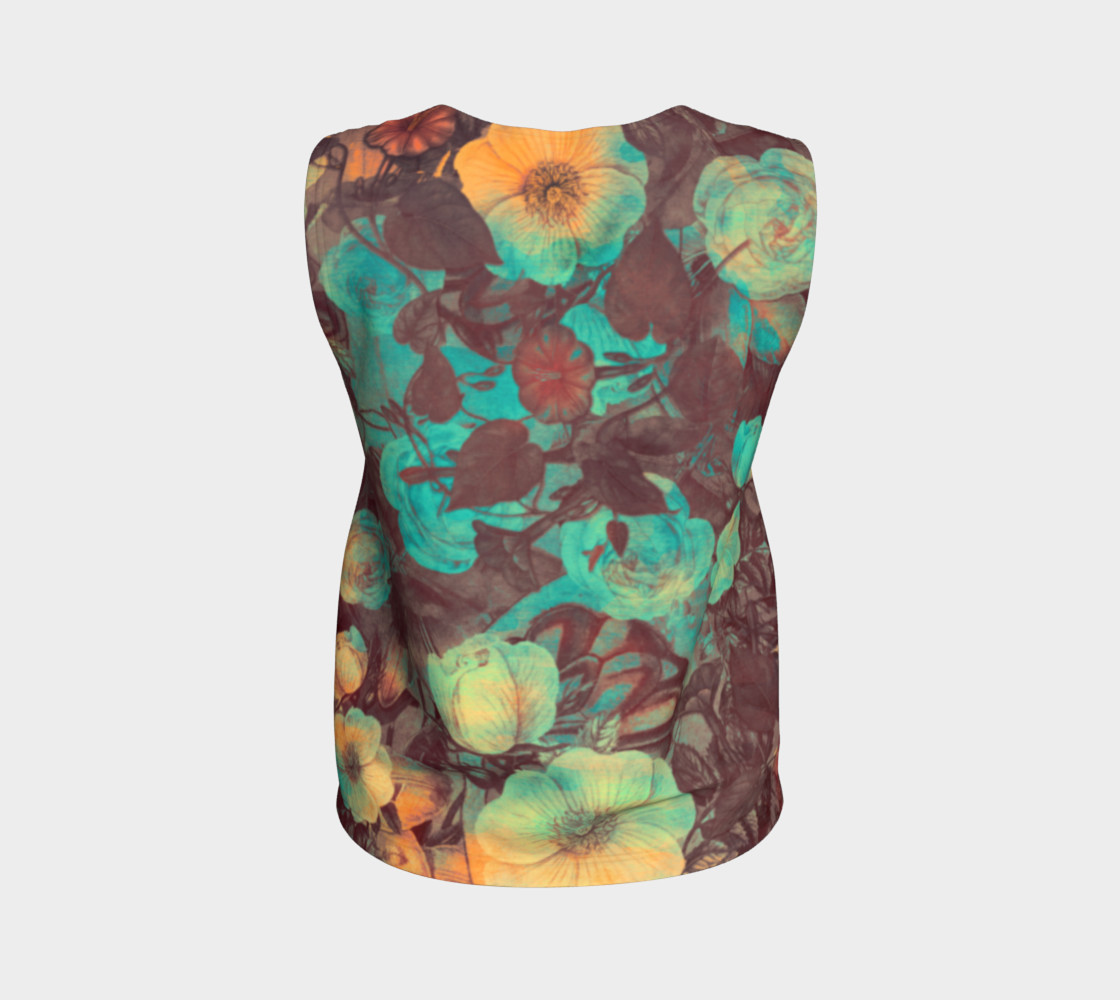 flowers green loose tank top preview #2